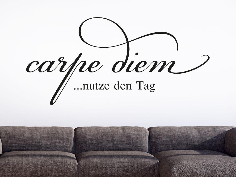 Wandtattoo Carpe diem - nutze den Tag dekorativer Wandspruch im Wohnbereich