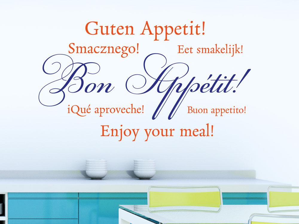 Wandtattoo Bon Appétit zweifarbig auf heller Küchenwand