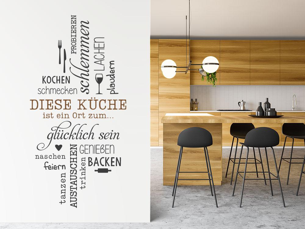 Wandtattoo Diese Küche ist ein Ort mit Besteck und Glas in Wohnküche