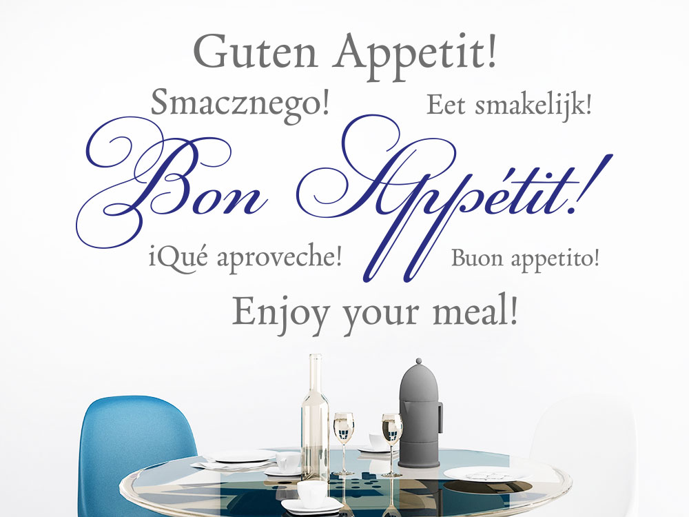 Wandtattoo Bon Appétit zweifarbig als Dekoidee für Küchen