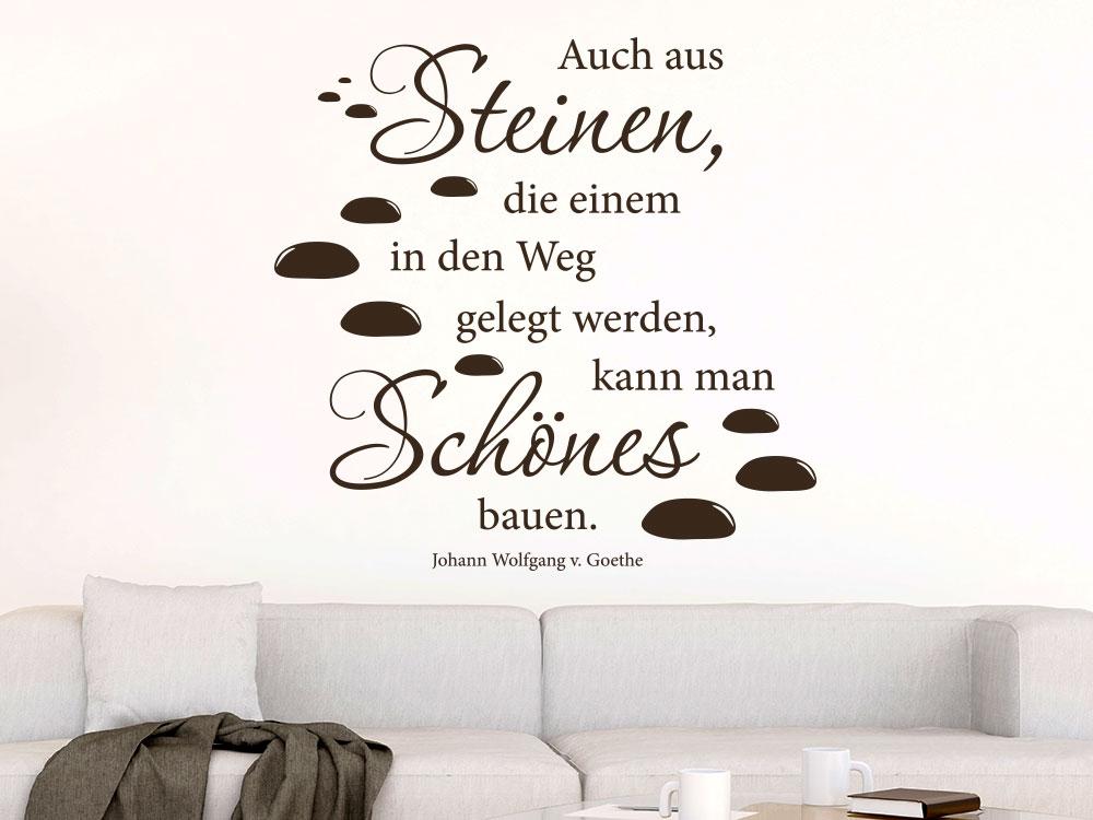Zitat Auch aus Steinen... Wandtattoo von Goethe im Wohnzimmer