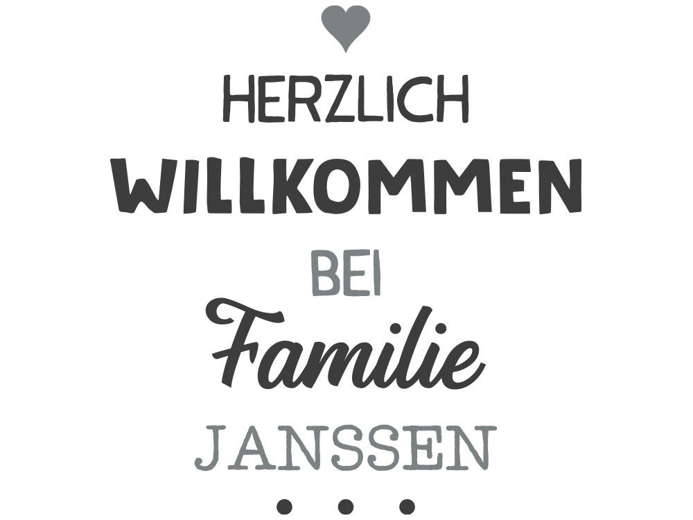 Wandtattoo Willkommen bei Familie mit Wunschname - Gesamtansicht des Wandtattoos