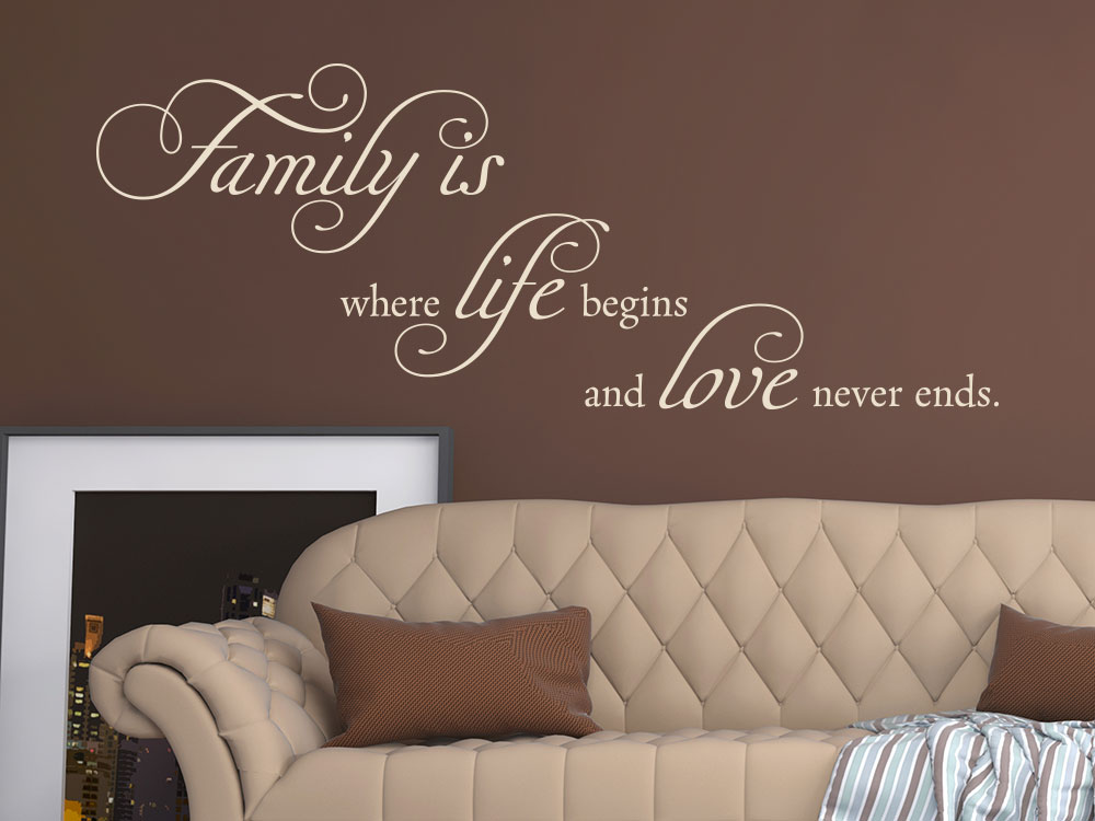 Wandtattoo Spruch Family is where life begins and love never ends Familienspruch