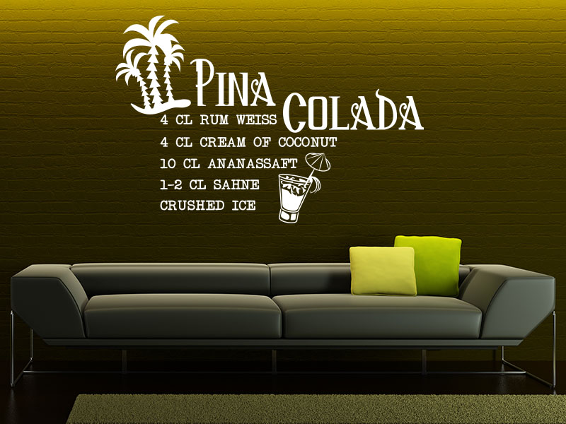 Pina Colada Cocktail Wandtattoo