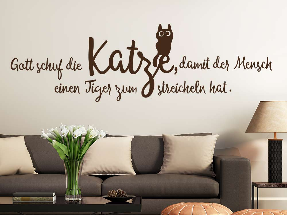 katzen spruch wandtattoo gott schuf die katze klebeheld. Black Bedroom Furniture Sets. Home Design Ideas