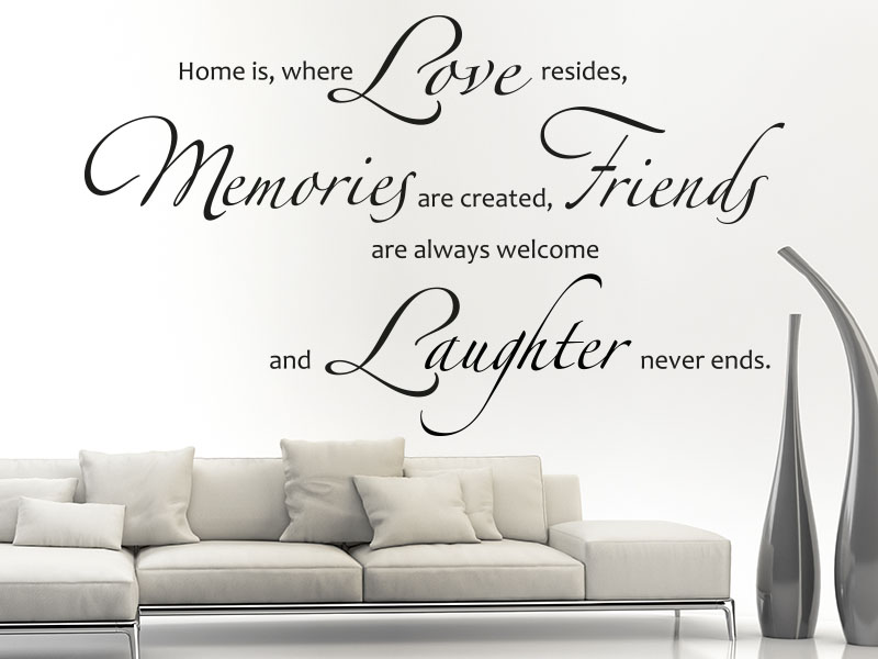 Wandtattoo Spruch Home is, where love resides, memories are created, friends are always welcome