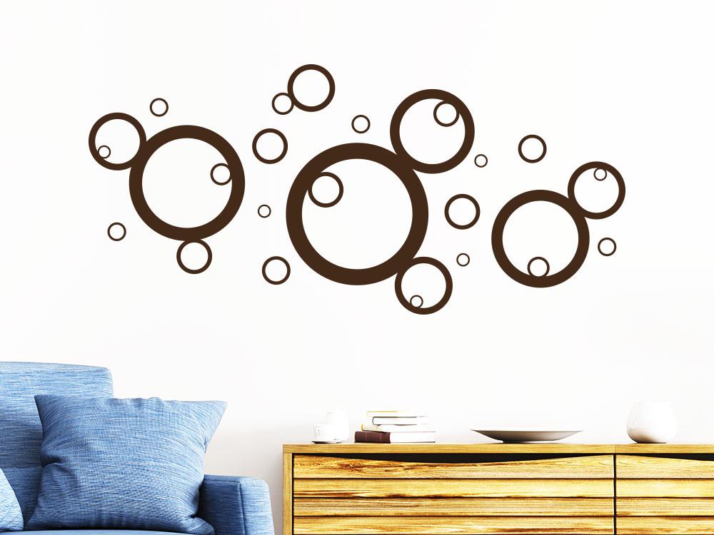 Wandtattoo Symphonie der Kreise auf heller Wand im Flur