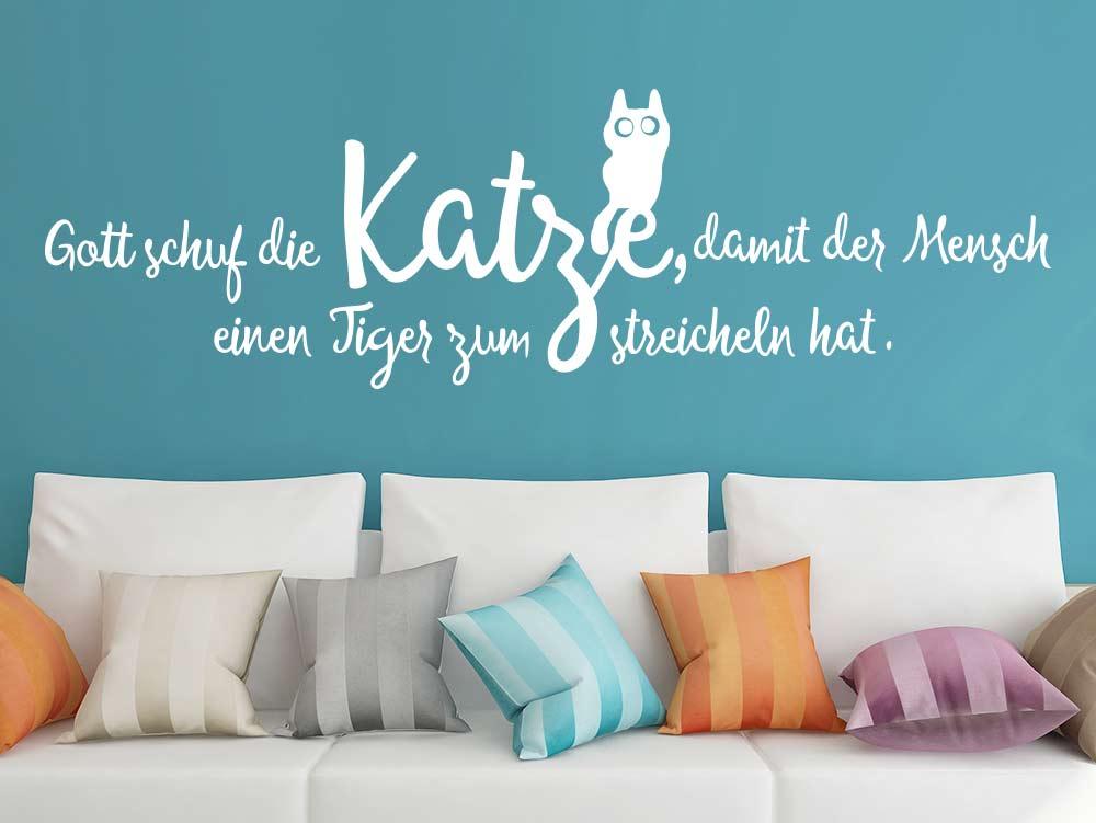 Spruch über Katzen Wandtattoo Gott schuf die Katze