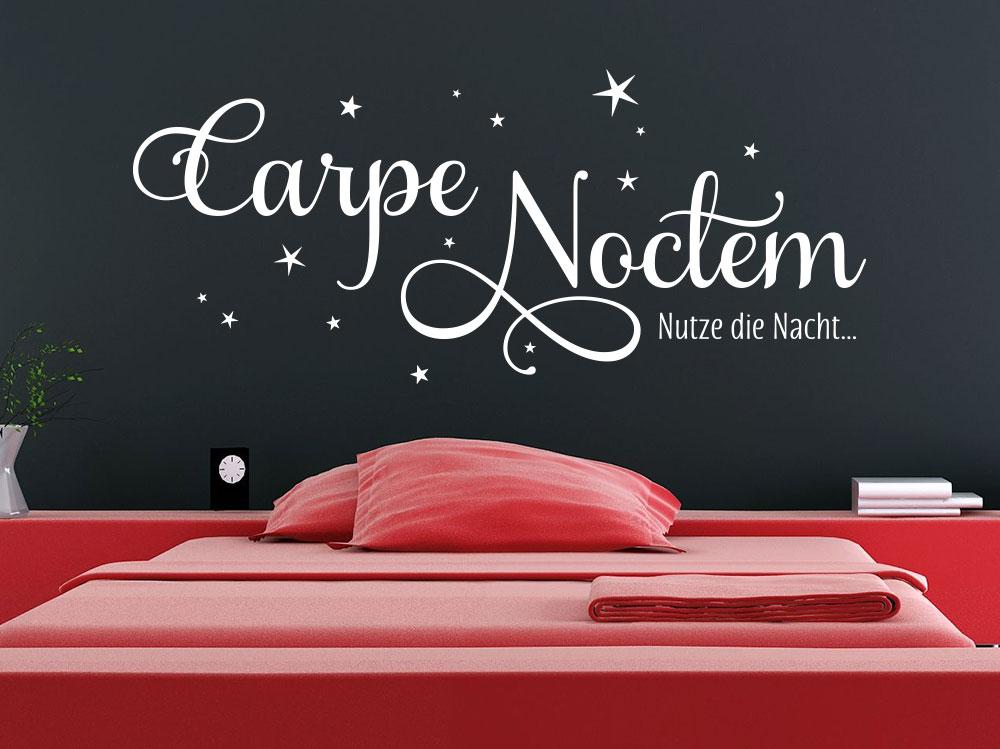 Wandtattoo Carpe Noctem Nutze die Nacht mit Sterne
