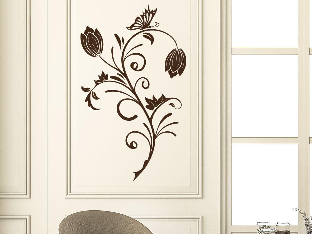 Wandtattoo Deko Ornament im Wohnzimmer Farbe Braun