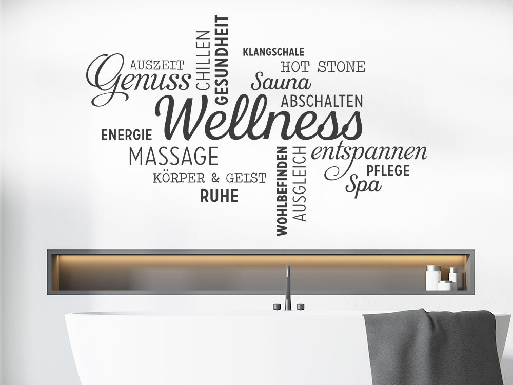Wandtattoo Wellness Wortwolke helle Wand