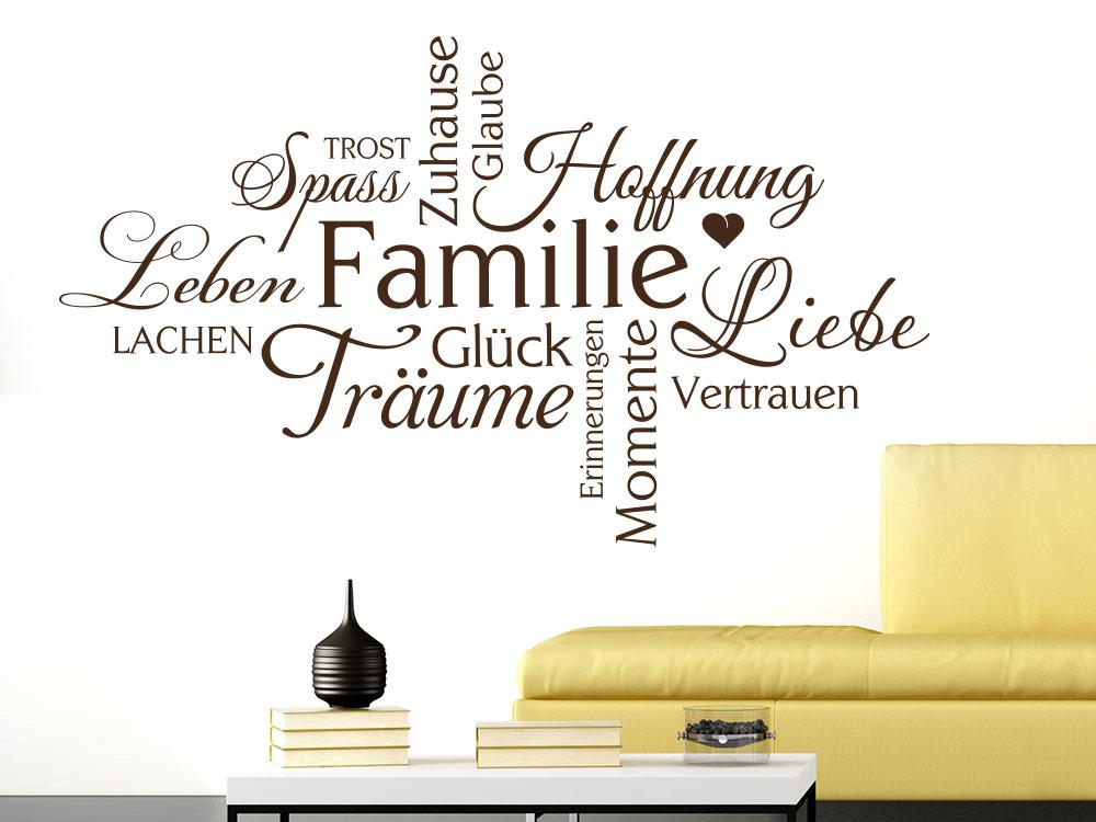 Wandtattoo Familie Wortwolke im Wohnzimmer Farbe Braun