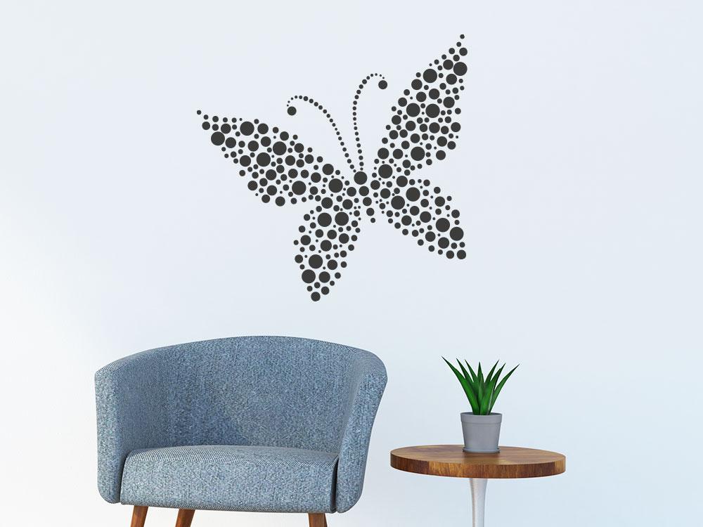 Wandtattoo Kreise Schmetterling im Wohnzimmer