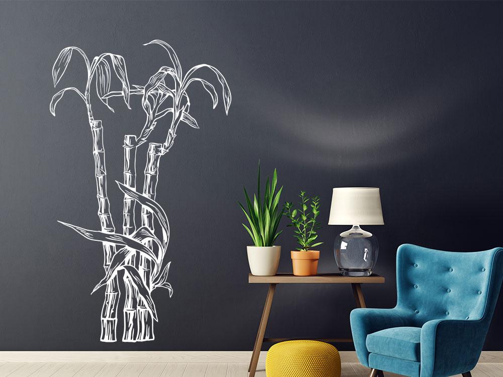 Asiatischer Wandtattoo Bambus Gewächs auf dunkler Wand