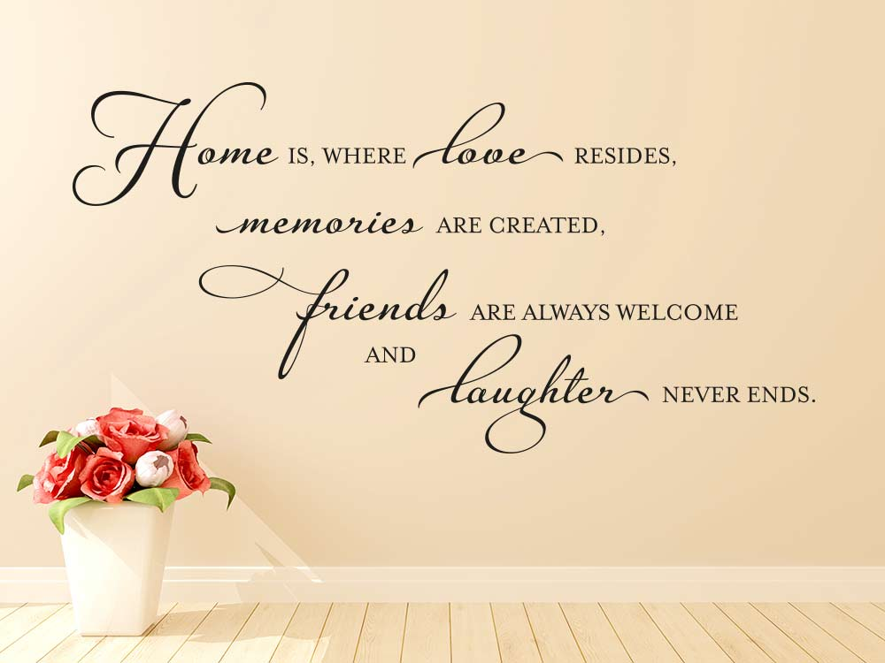 Wandtattoo Spruch Home is where love resides in englisch