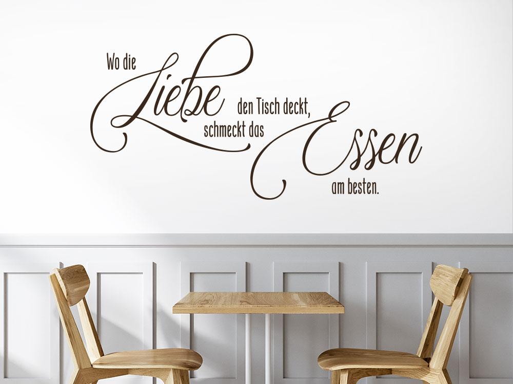 Wandtattoo Wo die Liebe den Tisch deckt helle Wand Küche