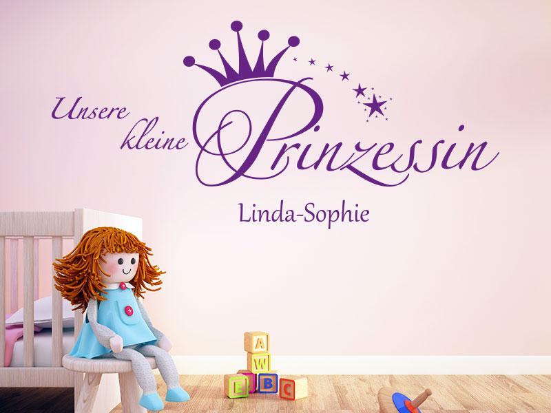 Wandtattoo Unsere kleine Prinzessin mit Wunschname
