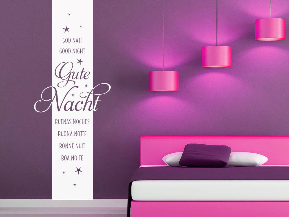 Wandtattoo Gute Nacht Banner mit Sternen im Schlafzimmer
