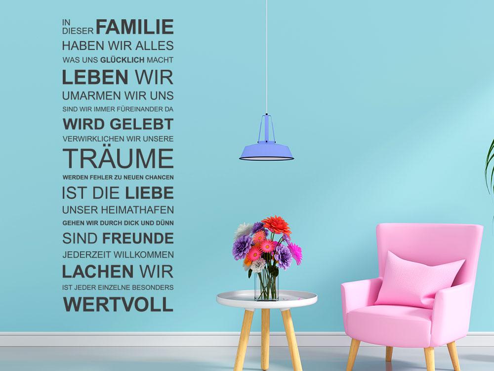 Wandtattoo Spruchband In dieser Familie im Wohnzimmer