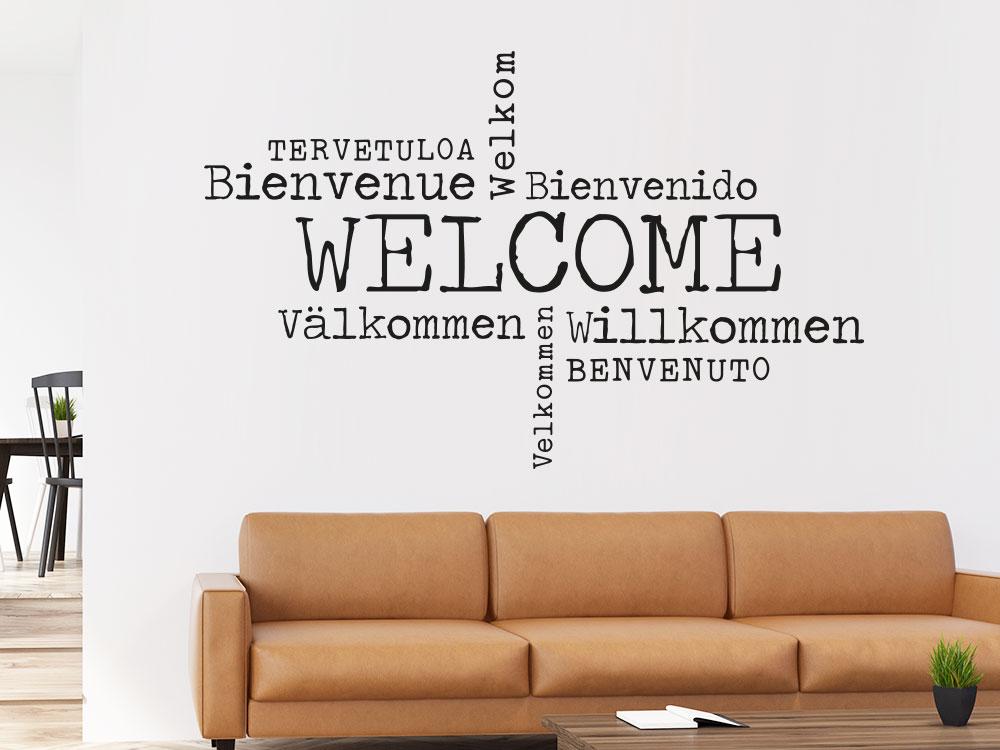 Wandtattoo Welcome Sprachen im Eingangsbereich