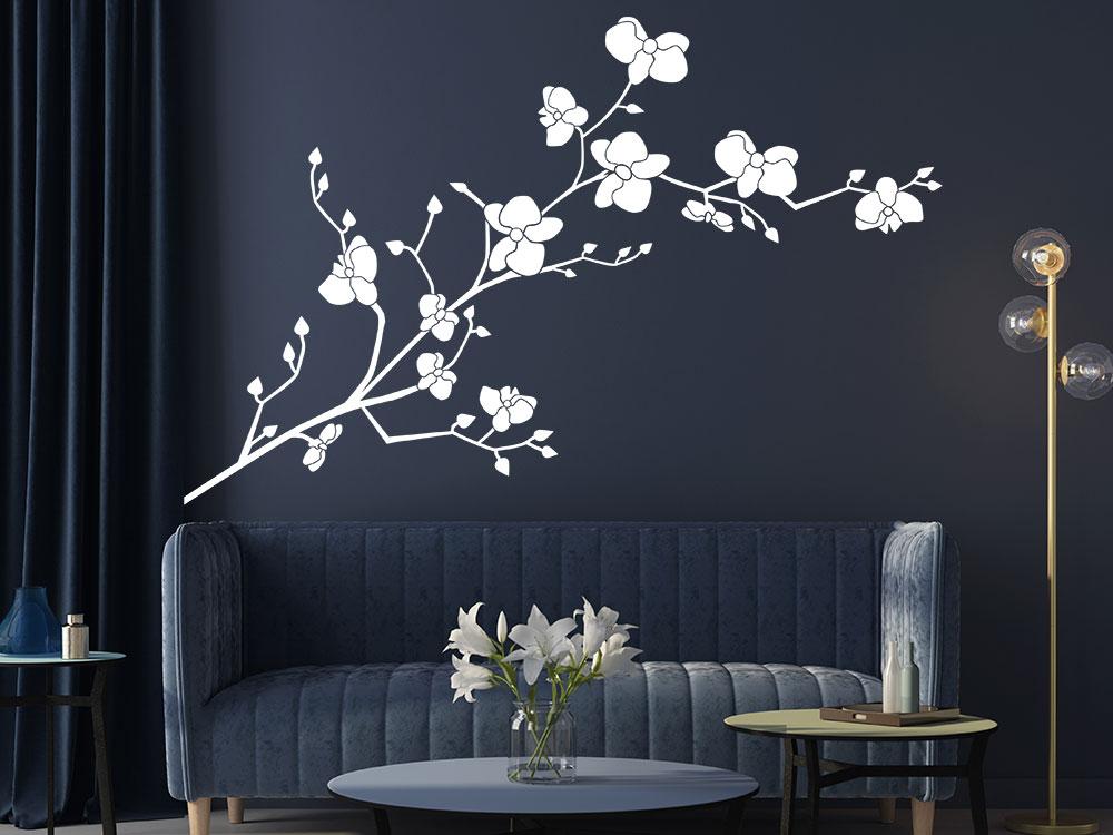 Orchideen Wandtattoo im Wohnbereich in der Farbe weiss