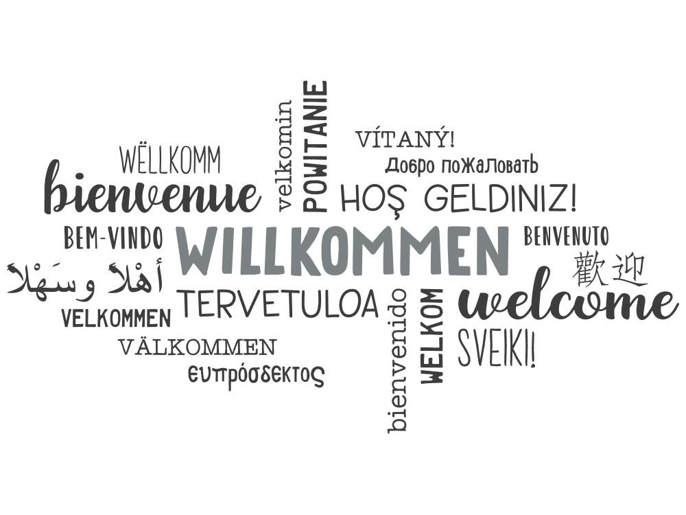Wandtattoo Willkommen in mehreren Sprachen Gesamtansicht