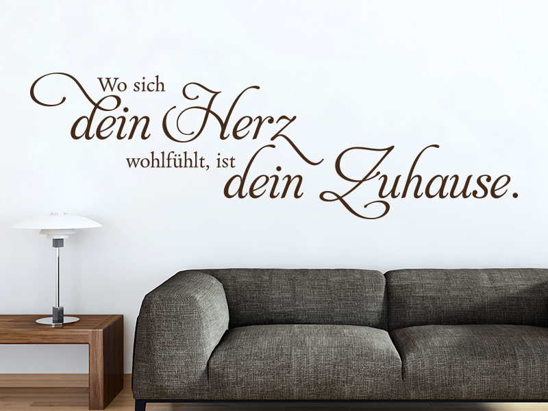 wandtattoo dein herz dein zuhause spruch klebeheld. Black Bedroom Furniture Sets. Home Design Ideas
