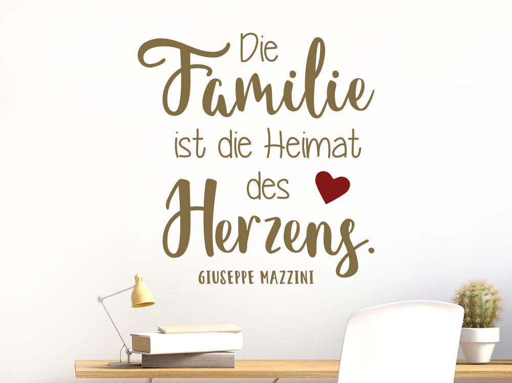 Familie ist die Heimat des Herzens Wandtattoo