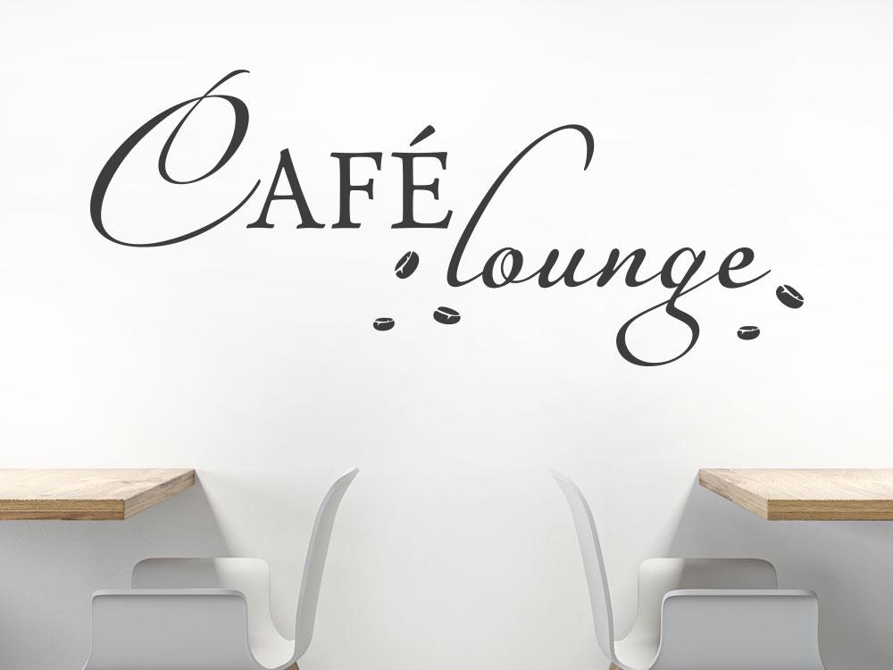 Kaffee Lounge Wandtattoo Schriftzug im Büro