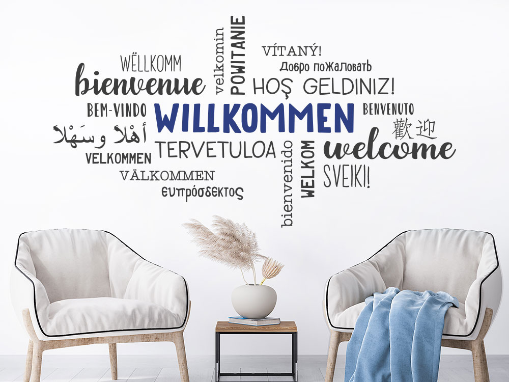 Wandtattoo Willkommen in vielen Sprachen als Wortwolke