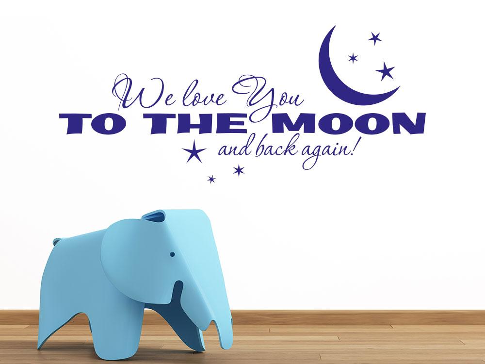 Wandtattoo We love you to the moon and back again im Babyzimmer