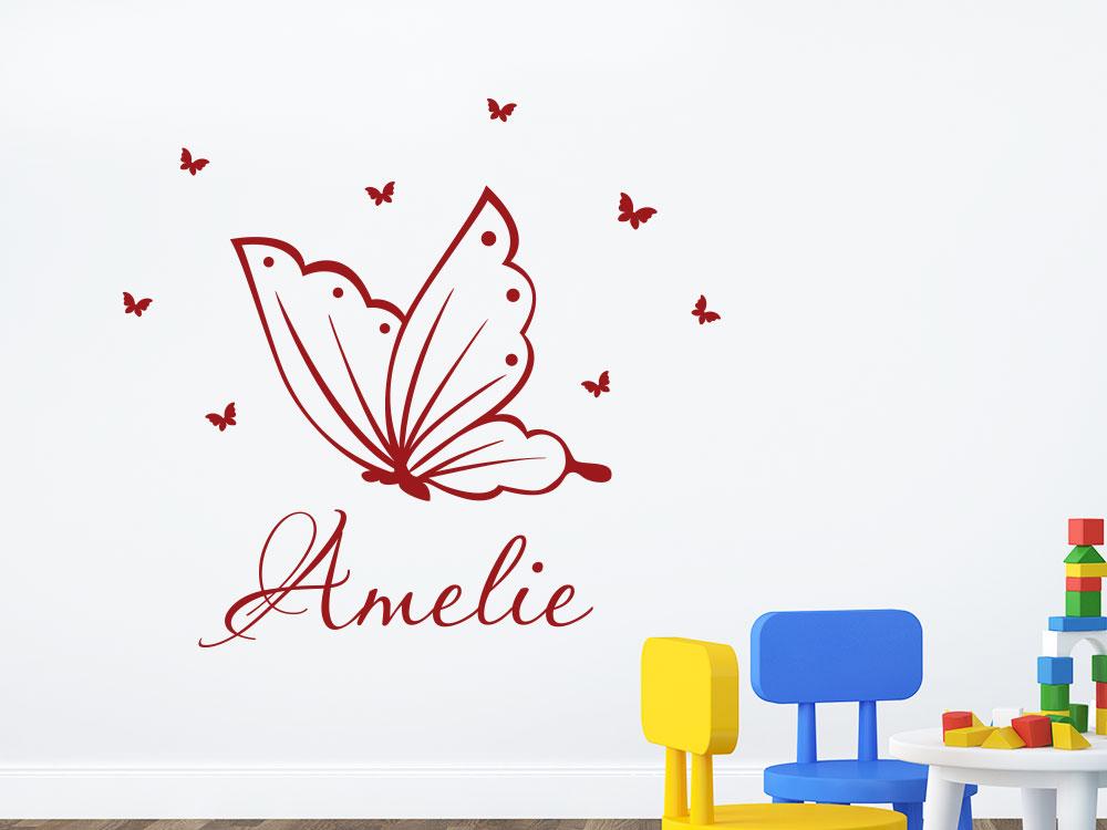 Wandtattoo Schmetterling mit Wunschname