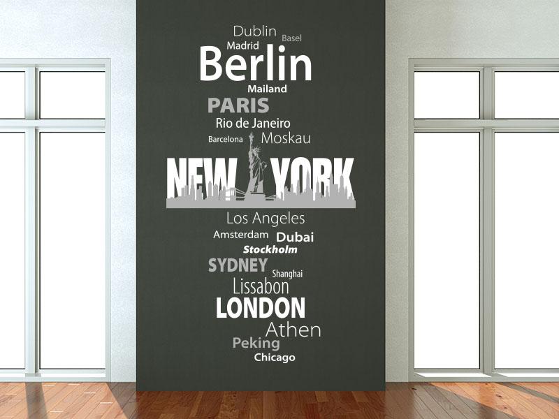Wandtattoo Banner Metropolen mit Skyline