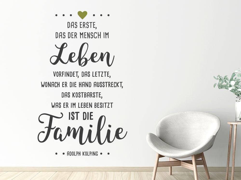 Wandtattoo Das Erste, das der Mensch im Leben vorfindet - Adolph Kolping
