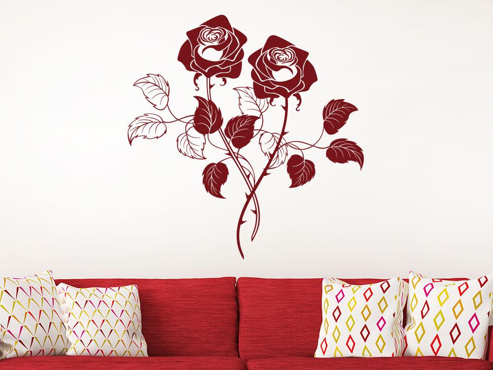 Wandtattoo blühende Rosen Deko Wohnzimmer