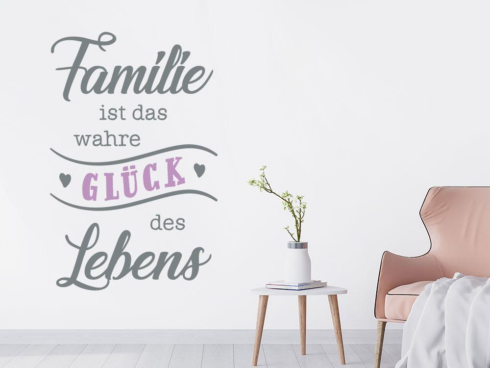Modernes Wandtattoo Familie ist das wahre Glück des Lebens im Wohnzimmer