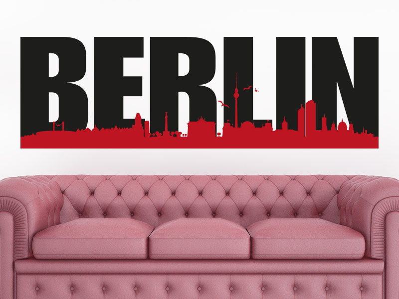 Wandtattoo Skyline Berlin zweifarbig