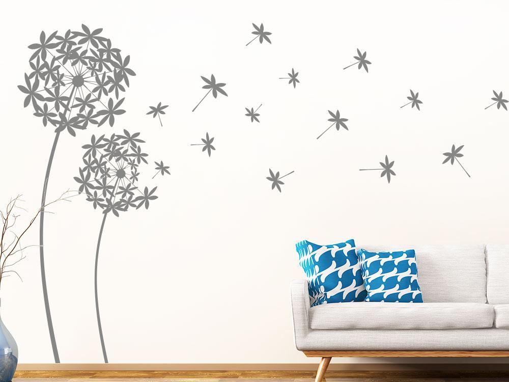 Dekorative Wandtattoo Pusteblumen im Wohnzimmer