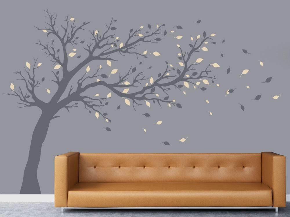 Wohnzimmer Wandtattoo Baum zweifarbig groß hinter Sofa