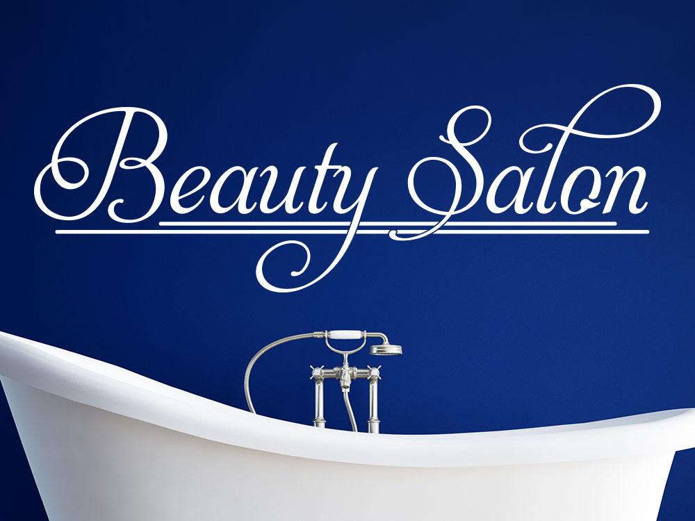 Wandtattoo Beauty Salon auf dunkler Wand im Bad über Badewanne