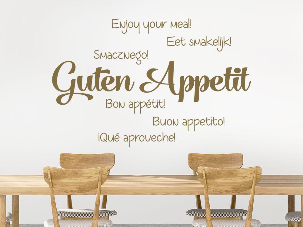 Wandtattoo Guten Appetit Wortwolke Sprachen im Esszimmer