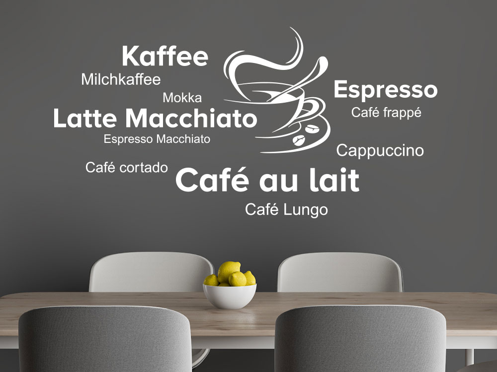 Latte Macchiato Cappuccino Wandtattoo mit Kaffeetasse