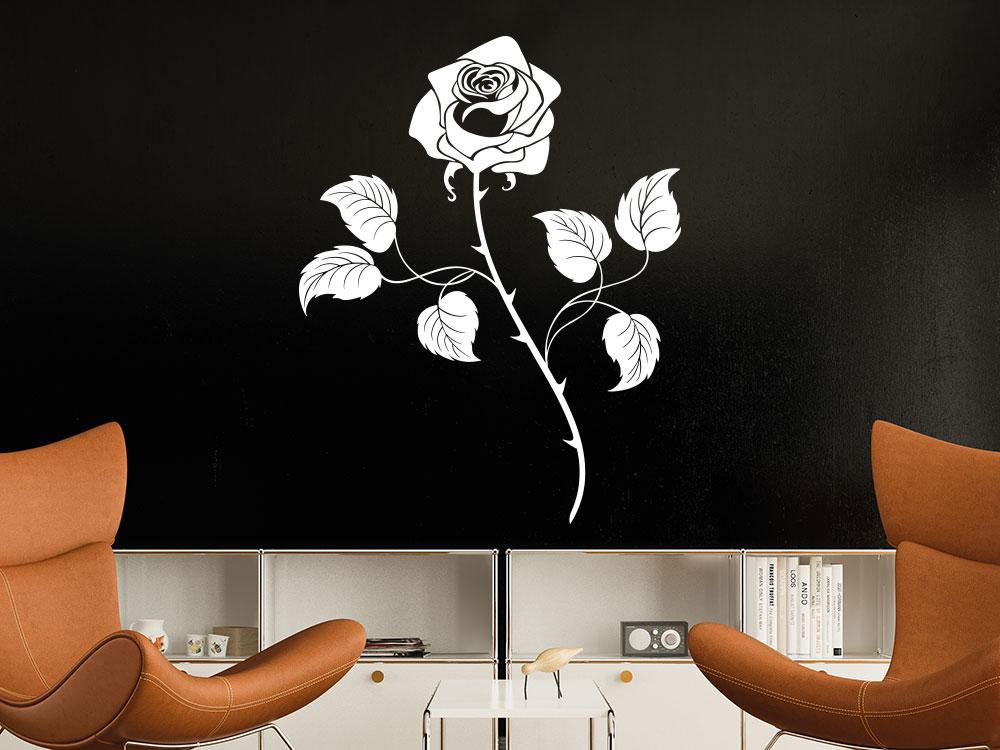 Wandtattoo Rose mit eleganten Rosenblätter