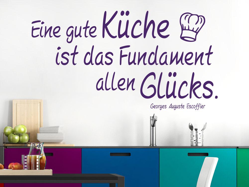 Wandtattoo Eine gute Küche ist das Fundament allen Glücks Zitat auf heller Wand