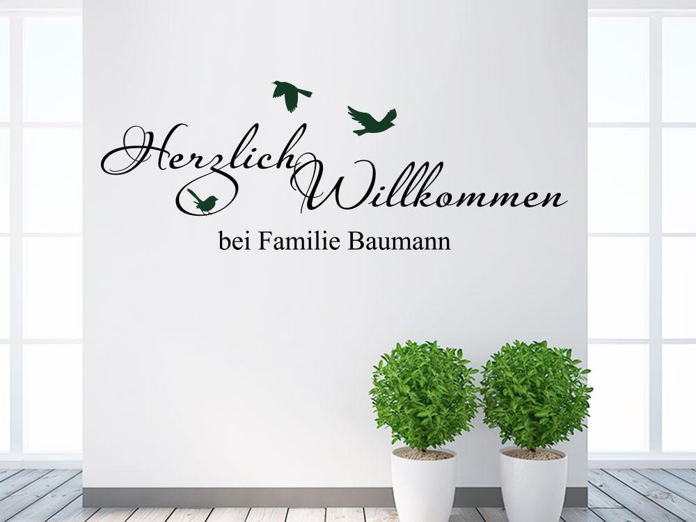Wandtattoo Herzlich Willkommen Bei Familie Wunschname
