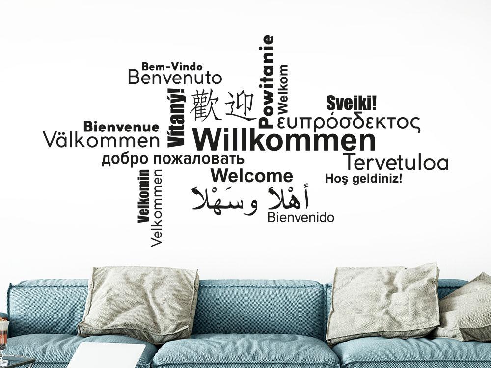Wandtattoo Willkommen Wortwolke Multikulturell