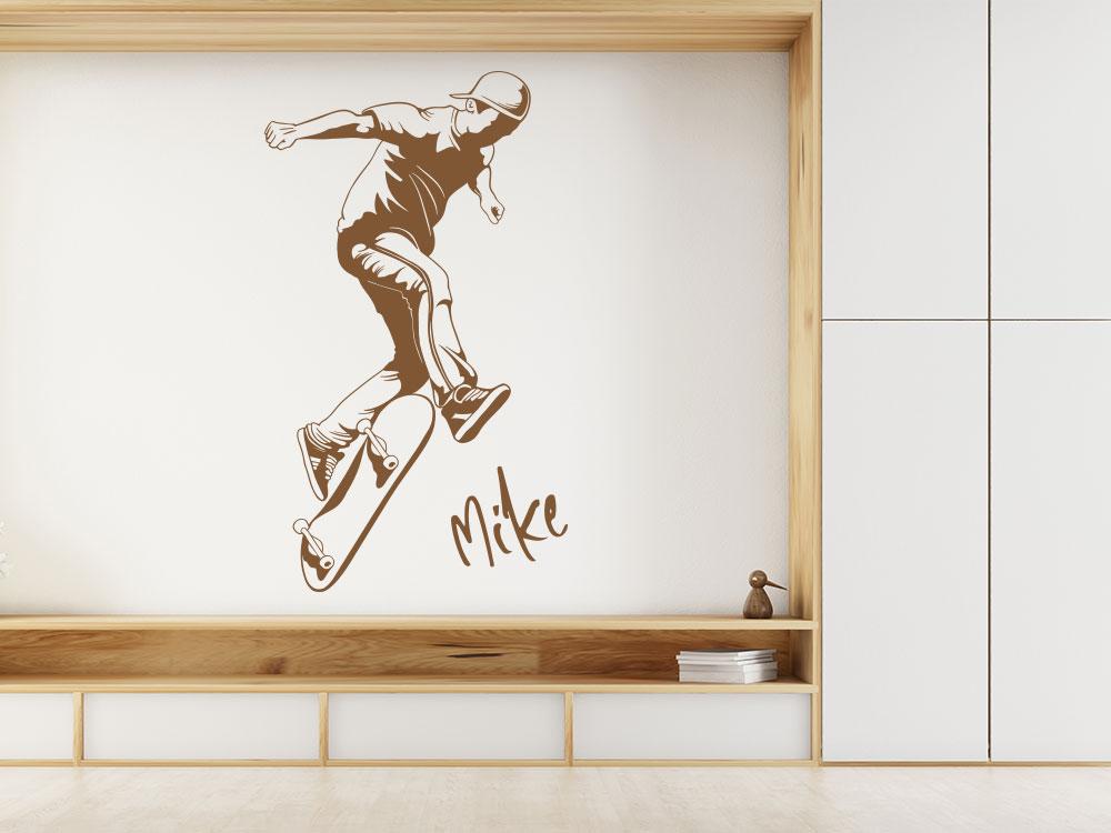 Wandtattoo Skater mit stylischem Name