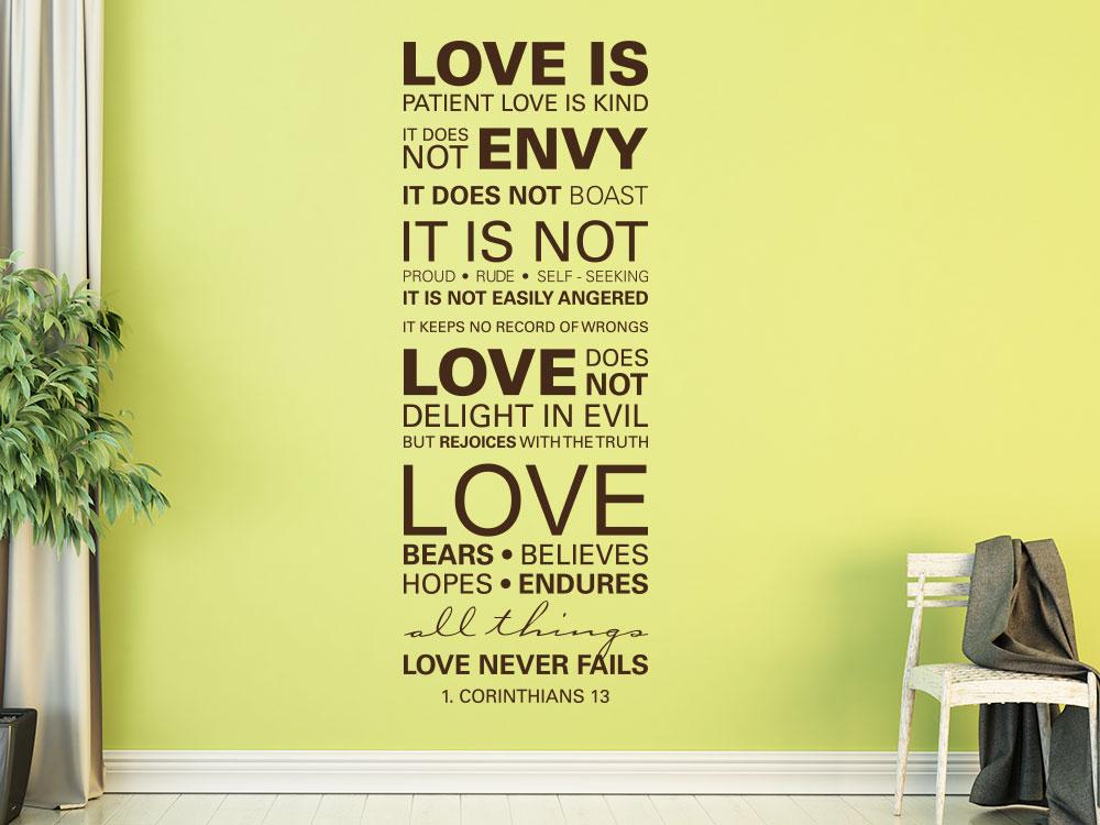 Wandtattoo Zitat 1 Corinthians 13 Love is patient