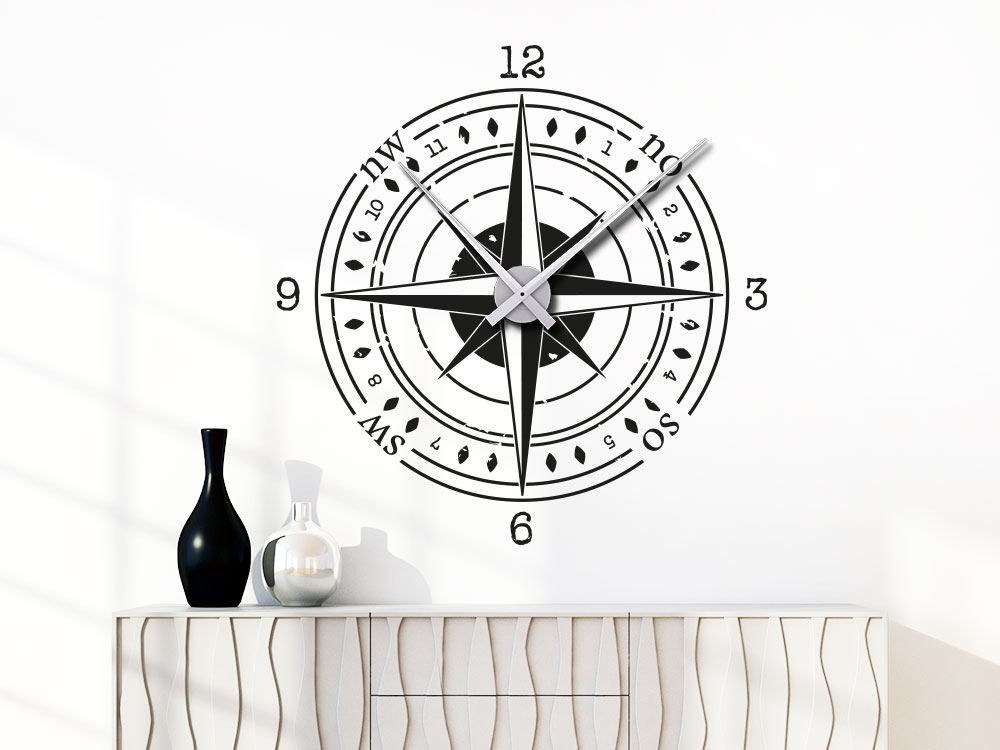 Wandtattoo Uhr Kompass