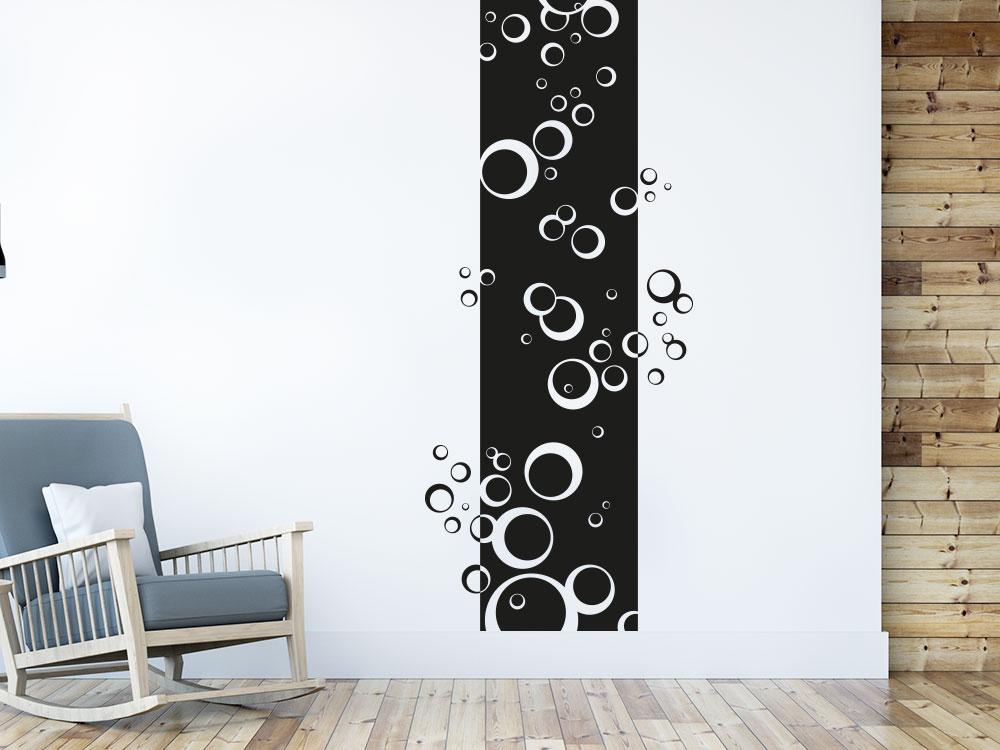 Wandtattoo Wandbanner Kreise auf heller Wand im Wohnbereich